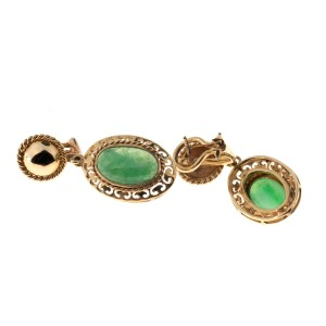 Vintage 14K Rose Gold Jadeite Jade Dangle Clip and Post Earrings