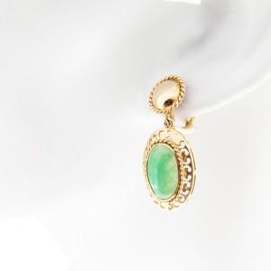 Vintage 14K Rose Gold Jadeite Jade Dangle Clip and Post Earrings