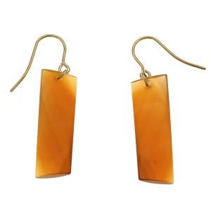 14K Yellow Gold Swirl Cut Carnelian Dangle Earrings