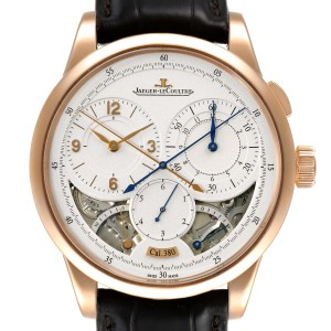 Jaeger Lecoultre Duometre Silver Dial Rose Gold Mens Watch