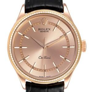 Rolex Cellini Everose Gold Diamond Automatic Mens Watch