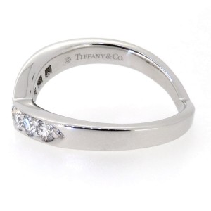 Tiffany & Co. Platinum Curved Heart Diamond Band Ring