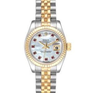Rolex Datejust Steel Yellow Gold MOP Ruby Ladies Watch