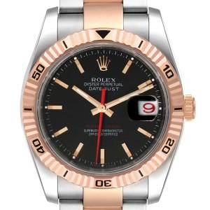 Rolex Turnograph Datejust Steel Rose Gold Black Dial Watch 116261