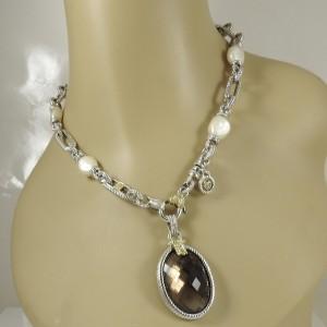 Judith Ripka 18K Yellow Gold 925 Sterling Silver Cultured Pearl Diamond Smoky Quartz Necklace