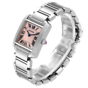 Cartier Tank Francaise Pink Mother of Pearl Steel Watch W51028Q3
