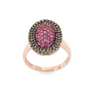 Effy 14K Rose Gold Brown Diamond & Pink Sapphire Ring Size 7.25
