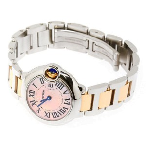Cartier Ballon Bleu W6920034 Stainless Steel & Pink Gold Pink Pearl Dial 28mm Womens Watch