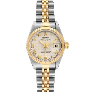 Rolex Datejust Steel Yellow Gold Pyramid Dial Ladies Watch 79173 Box Papers