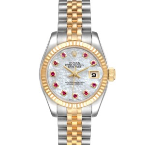 Rolex Datejust Steel Yellow Gold MOP Ruby Ladies Watch 179173 Box Papers