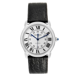 Cartier Ronde Solo Silver Dial Black Strap Automatic Watch