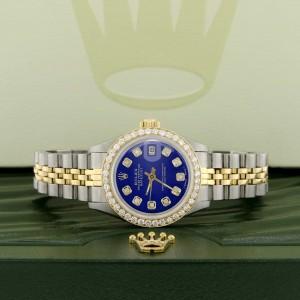 Rolex Datejust Ladies 2-Tone 18K Gold/SS 26mm Watch with Blue Dial & Diamond Bezel