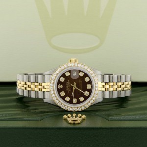 Rolex Datejust Ladies 2-Tone 18K Gold/SS 26mm Watch with Cocoa Brown Dial & Diamond Bezel