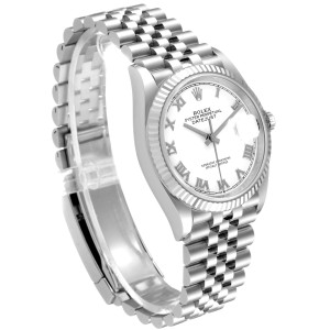 Rolex Datejust Steel White Gold Silver Dial Mens Watch