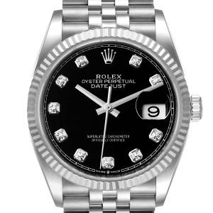 Rolex Datejust Steel White Gold Black Diamond Dial Mens Watch