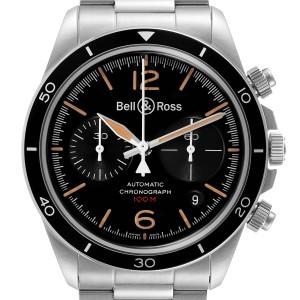 Bell & Ross Heritage Black Dial Chronograph Steel Mens Watch BRV294 Unworn