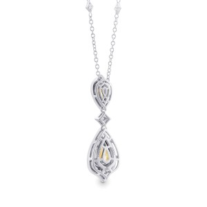 Leibish 18K White and Yellow Gold Fancy Yellow Diamond Halo Double Drop Pendant Necklace