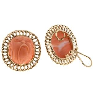 Vintage 14K Yellow Gold Spectacular High Relief Carved Angel Skin Coral Earrings