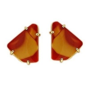 Peter Suchy 14K Yellow Gold with Brown Agate Earrings
