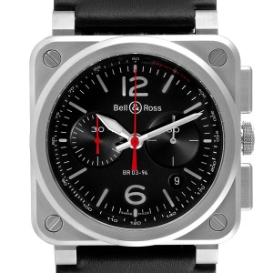Bell & Ross Aviation Black Dial Chronograph Steel Mens Watch