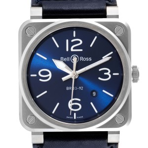 Bell & Ross Aviation Blue Dial Automatic Steel Mens Watch