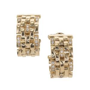 Cartier Maillon Panthere .50 Carat Diamond Five Row Gold Hoop Earrings