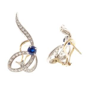 14K Yellow Gold & Platinum 1.02cts Blue Sapphire & 0.66ct Diamond Swirl Earrings