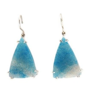 Peter Suchy 14K White Gold with 20ct. Blue Quartz Triangle Vintage Earrings