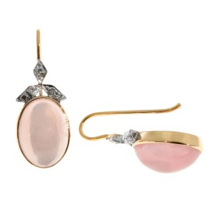 14K Rose and White Gold 10.00ct Rose Quartz and 0.11ct Diamond Earrings