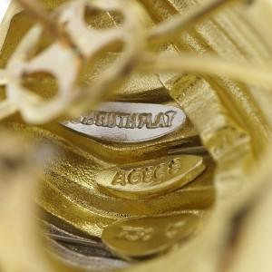 Henry Dunay Cinnabar 18K Yellow Gold & Platinum Textured Shell Earrings