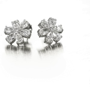 Platinum 6.70ct Diamond Cluster Earrings