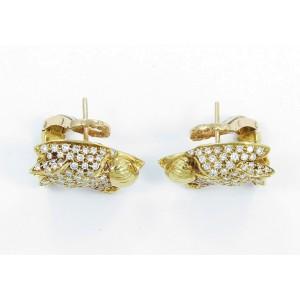 Carrera Y Carrera 18K Yellow Gold Diamond Ruby Panther Earrings