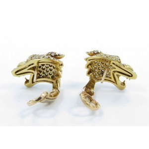 Carrera Y Carrera 18K Yellow Gold Diamond Ruby Panther Earrings