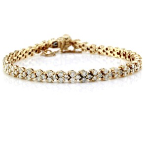 14K Yellow Gold 4.47ctw Diamond Heart Motif Tennis Bracelet