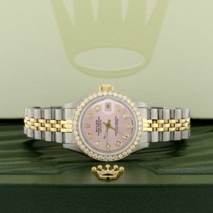 Rolex Datejust Ladies 2-Tone 18K Gold/SS 26mm Watch with Pink Dial & Diamond Bezel