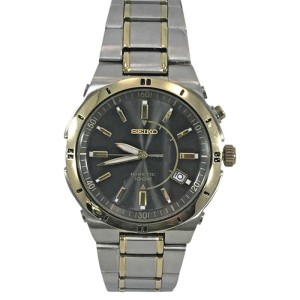 Seiko SKA348 Two Tone Stainless Steel Black Kinetic Dial 40mm Mens Watch