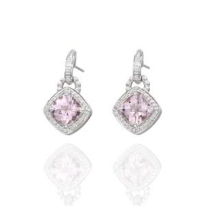 Charles Krypell 18K White Gold 3.73ctw Morganite and 0.30ctw Diamond Earrings