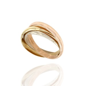 Cartier Trinity 18K Yellow White & Rose Gold Rolling Ring Size 6