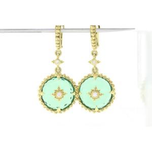 Judith Ripka 18k 18K Yellow Gold Chalcedony, Diamond Earrings