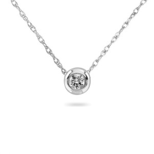 14k White Gold Tiny Diamond Solitaire Bezel Necklace