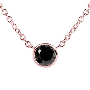 14K Rose Gold Black Diamond Solitaire 1/4ct Round Bezel Necklace