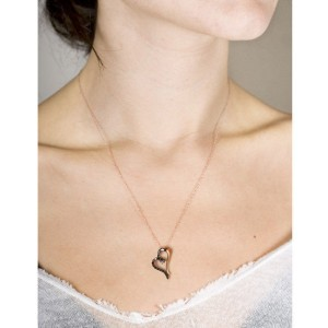 14K Rose Gold Black Diamond Half-half Heart Pendant Necklace
