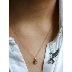 10k Rose Gold Solitaire Embedded Diamond Heart Necklace