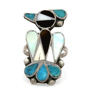 Zuni Sterling Silver Multi-Stone Inlay Thunderbird Ring