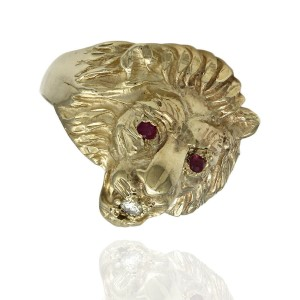 10KY Lion Head Ring with Diamond and Ruby Accents