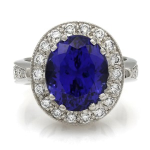 Platinum Tanzanite and Diamond Halo Ring