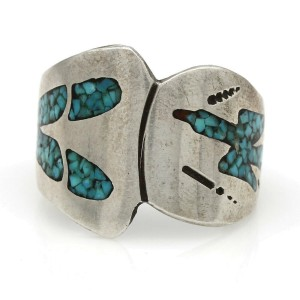 Navajo Tommy Singer Sterling Silver Turquoise Chip Inlay Ring