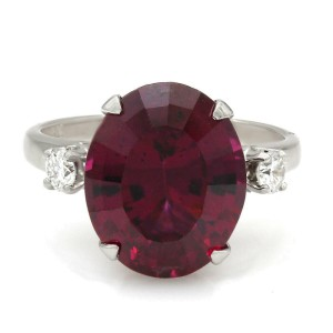 14KW Garnet and Diamond Ring