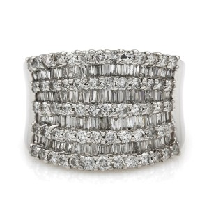 Nine Row Round and Baguette Diamond Ring 14KW