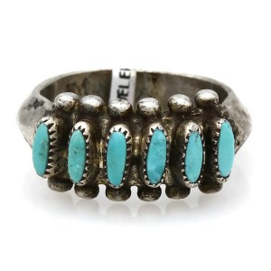 Zuni Signed P Sterling Silver Needlepoint Turquoise Ring